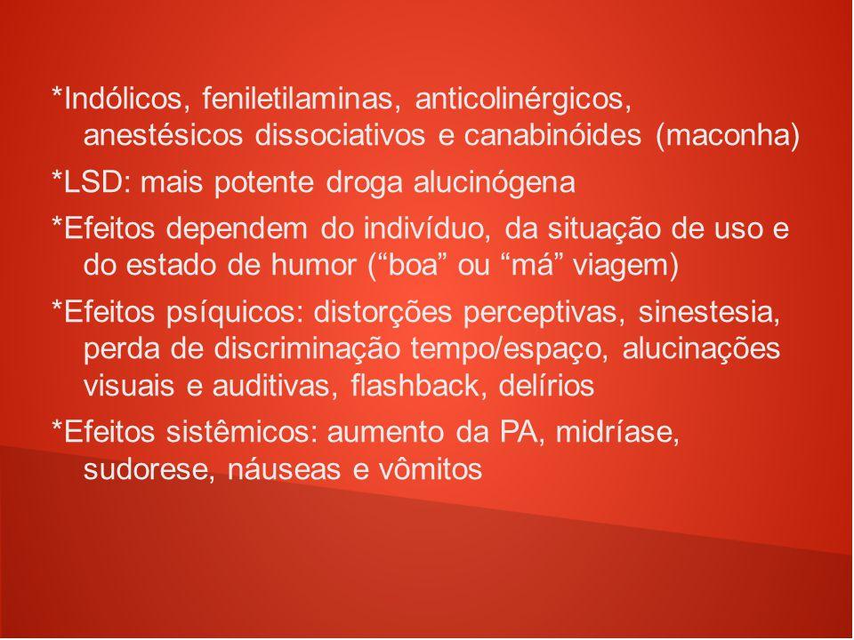 *Indólicos, feniletilaminas, anticolinérgicos, anestésicos dissociativos e canabinóides (maconha) *LSD: mais potente droga alucinógena *Efeitos depend