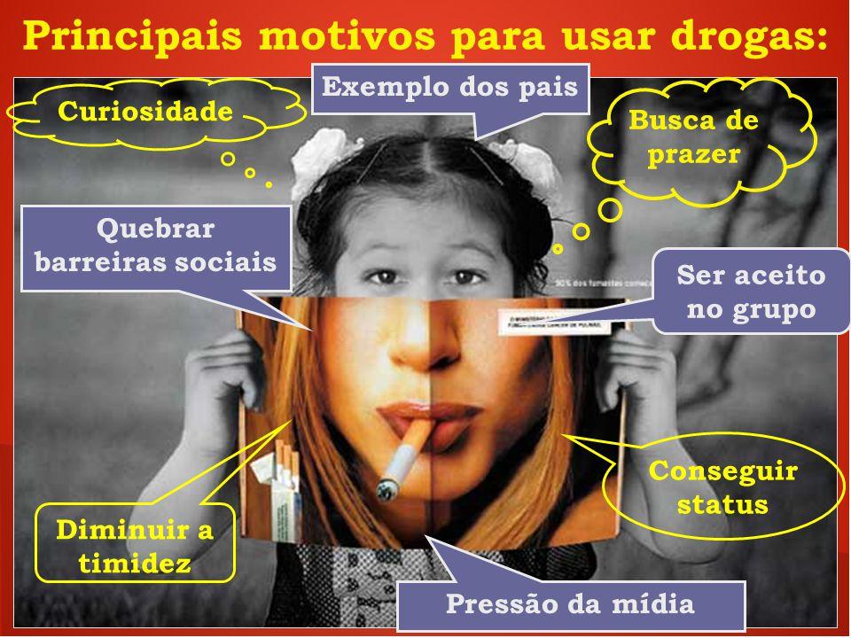 Principais motivos para usar drogas: Busca de prazer Ser aceito no grupo Curiosidade Quebrar barreiras sociais Conseguir status Diminuir a timidez Pre