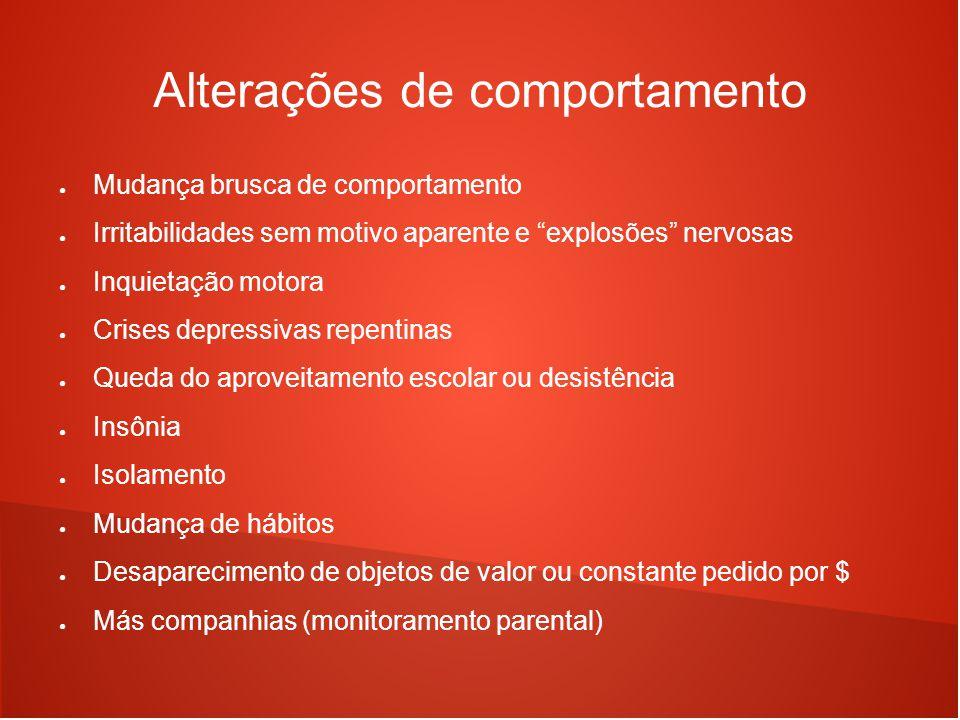 """Alterações de comportamento ● Mudança brusca de comportamento ● Irritabilidades sem motivo aparente e """"explosões"""" nervosas ● Inquietação motora ● Cris"""