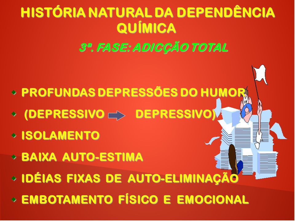  PROFUNDAS DEPRESSÕES DO HUMOR  (DEPRESSIVO DEPRESSIVO)  ISOLAMENTO  BAIXA AUTO-ESTIMA  IDÉIAS FIXAS DE AUTO-ELIMINAÇÃO  EMBOTAMENTO FÍSICO E EM