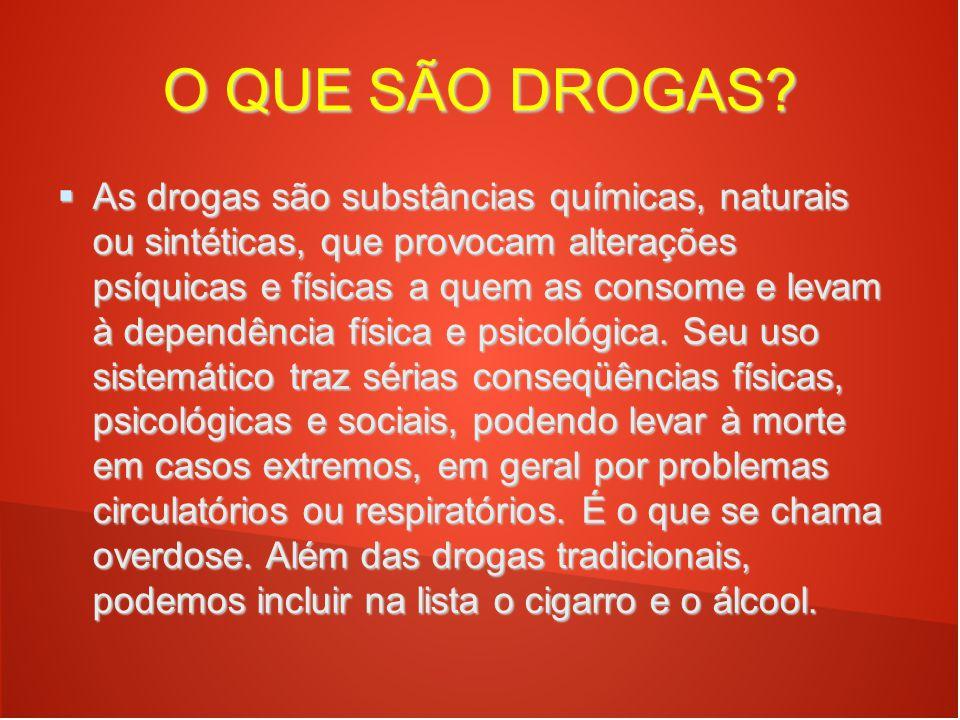 O QUE SÃO DROGAS?  As drogas são substâncias químicas, naturais ou sintéticas, que provocam alterações psíquicas e físicas a quem as consome e levam