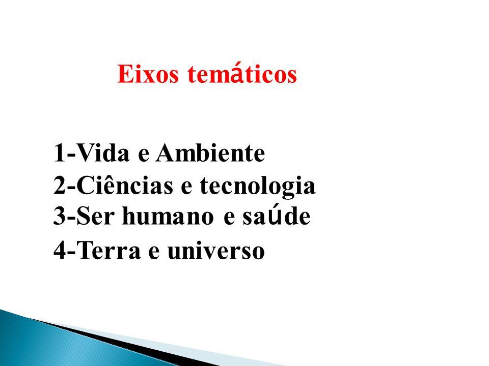 Eixos tem á ticos 1-Vida e Ambiente 2-Ciências e tecnologia 3-Ser humano e sa ú de 4-Terra e universo