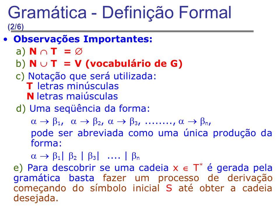 Observações Importantes: a) N  T =  b) N  T = V (vocabulário de G) c) Notação que será utilizada: T letras minúsculas N letras maiúsculas d) Uma seqüência da forma:    1,    2,    3,........,    n, pode ser abreviada como uma única produção da forma:    1 |  2 |  3 |....