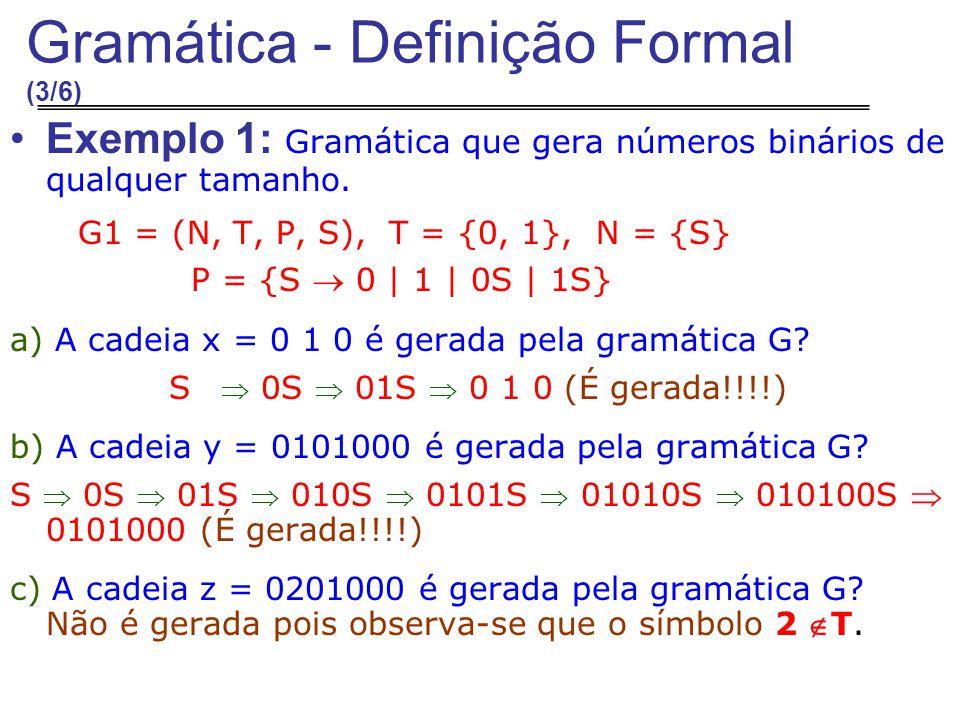 Exemplo 1: Gramática que gera números binários de qualquer tamanho.