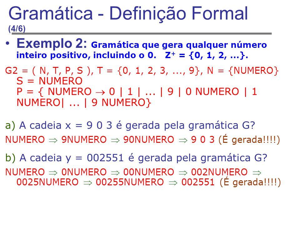 Exemplo 2: Gramática que gera qualquer número inteiro positivo, incluindo o 0.