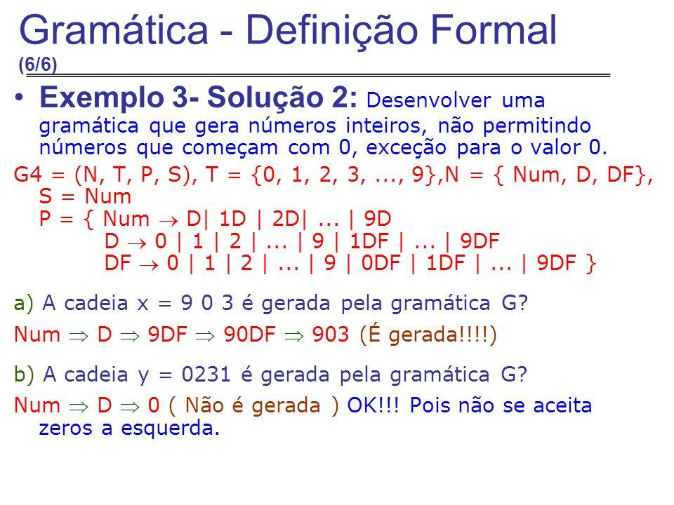 Exemplo 3- Solução 2: Desenvolver uma gramática que gera números inteiros, não permitindo números que começam com 0, exceção para o valor 0.