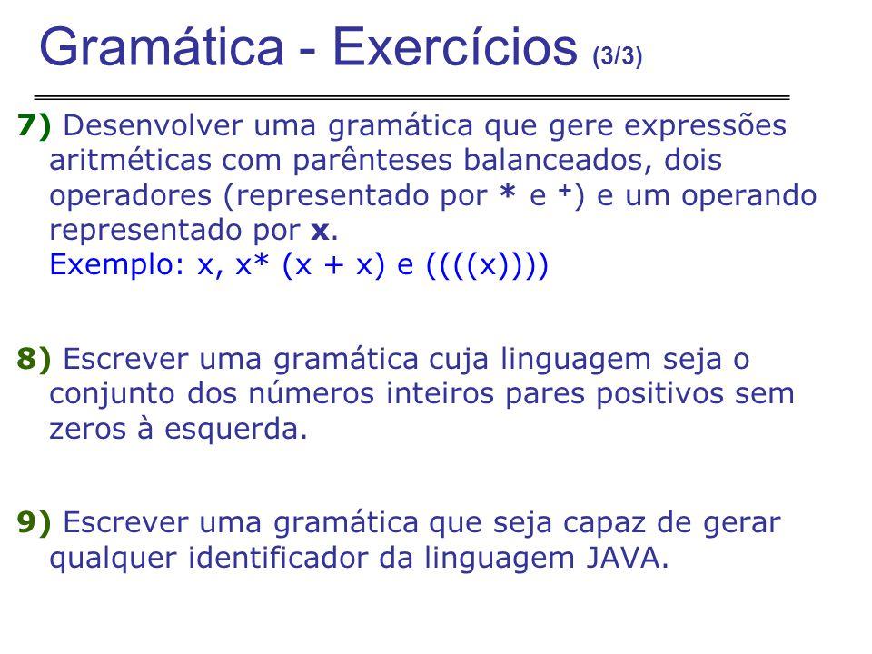 7) Desenvolver uma gramática que gere expressões aritméticas com parênteses balanceados, dois operadores (representado por * e + ) e um operando representado por x.