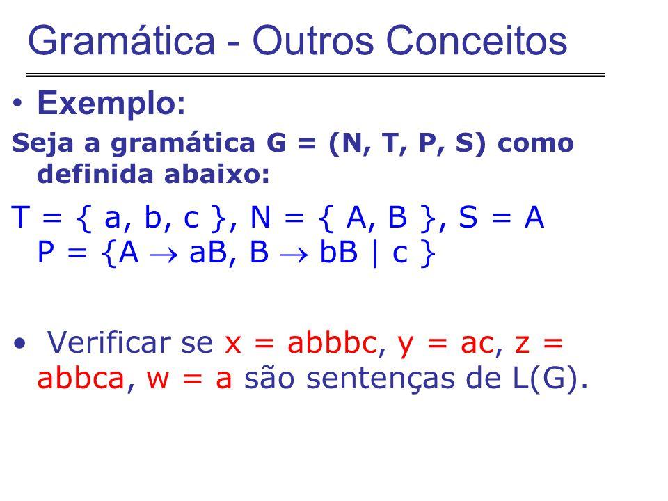 Exemplo: Seja a gramática G = (N, T, P, S) como definida abaixo: T = { a, b, c }, N = { A, B }, S = A P = {A  aB, B  bB | c } Verificar se x = abbbc, y = ac, z = abbca, w = a são sentenças de L(G).