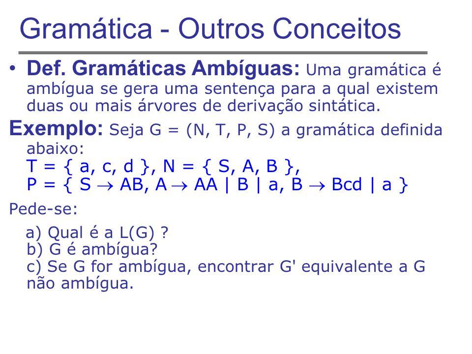 Def. Gramáticas Ambíguas: Uma gramática é ambígua se gera uma sentença para a qual existem duas ou mais árvores de derivação sintática. Exemplo: Seja