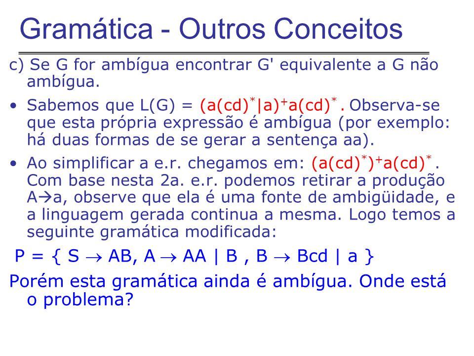 c) Se G for ambígua encontrar G equivalente a G não ambígua.