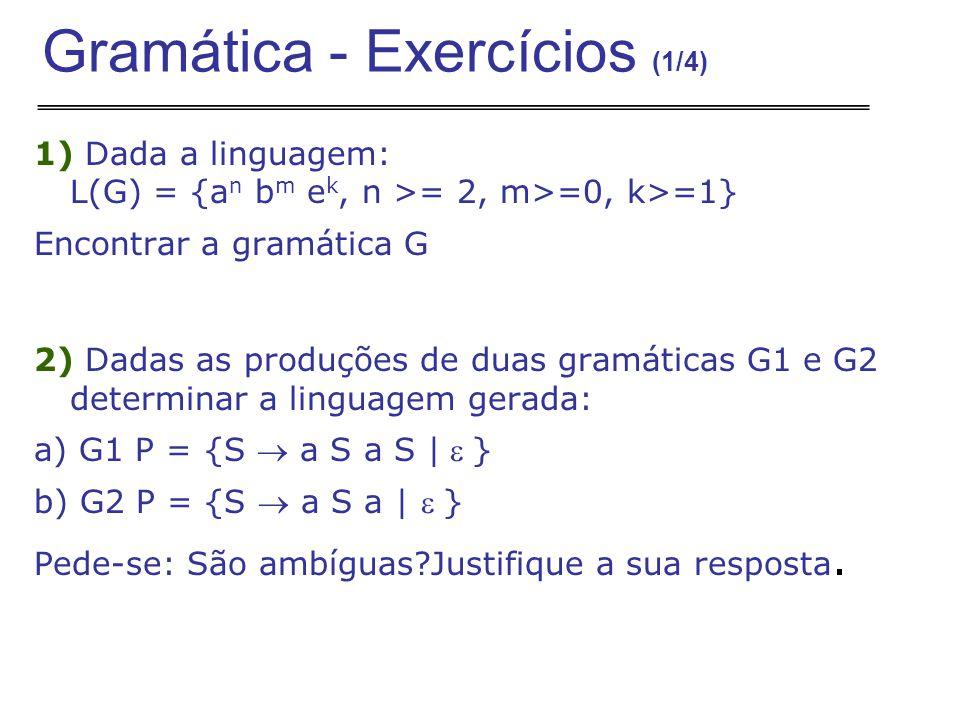 1) Dada a linguagem: L(G) = {a n b m e k, n >= 2, m>=0, k>=1} Encontrar a gramática G 2) Dadas as produções de duas gramáticas G1 e G2 determinar a linguagem gerada: a) G1 P = {S  a S a S |} b) G2 P = {S  a S a | } Pede-se: São ambíguas?Justifique a sua resposta.