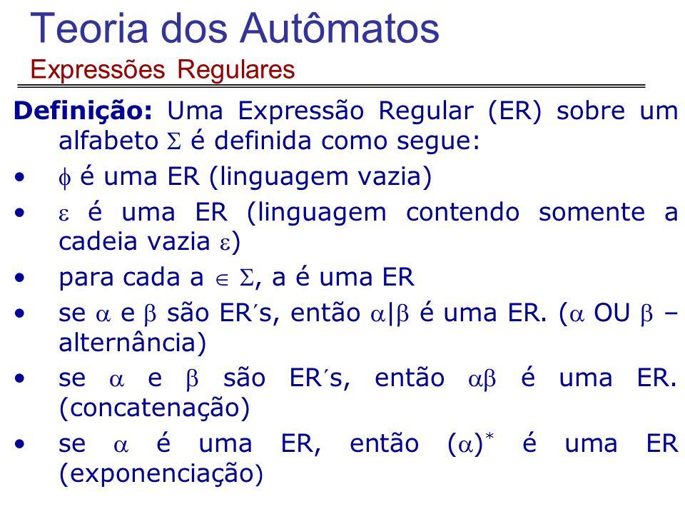 Teoria dos Autômatos Expressões Regulares Definição: Uma Expressão Regular (ER) sobre um alfabeto  é definida como segue:  é uma ER (linguagem vazia)  é uma ER (linguagem contendo somente a cadeia vazia ) para cada a  , a é uma ER se  e  são ER´s, então | é uma ER.