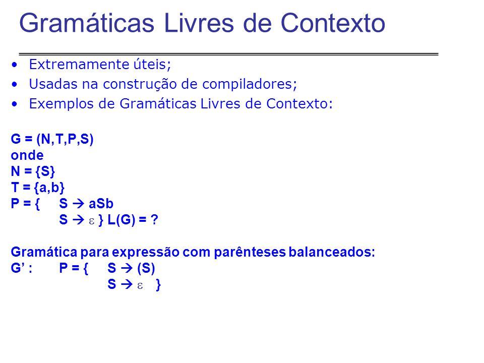 Extremamente úteis; Usadas na construção de compiladores; Exemplos de Gramáticas Livres de Contexto: G = (N,T,P,S) onde N = {S} T = {a,b} P = {S  aSb S   } L(G) = .