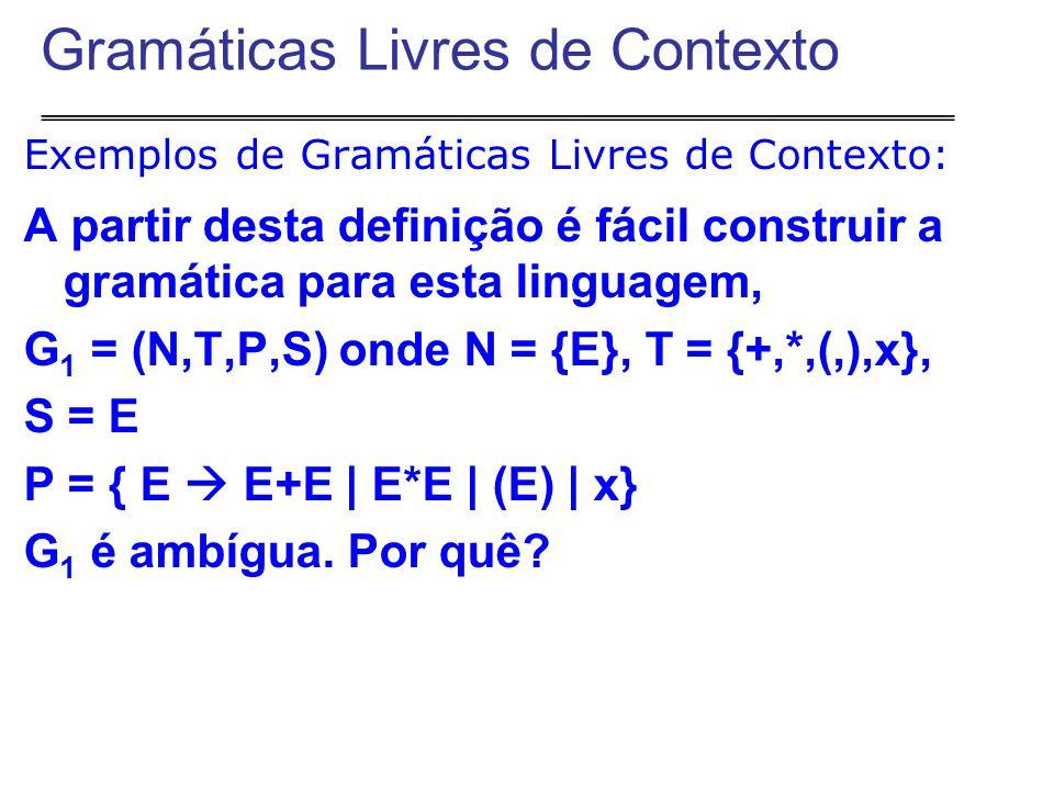 Exemplos de Gramáticas Livres de Contexto: A partir desta definição é fácil construir a gramática para esta linguagem, G 1 = (N,T,P,S) onde N = {E}, T = {+,*,(,),x}, S = E P = { E  E+E | E*E | (E) | x} G 1 é ambígua.