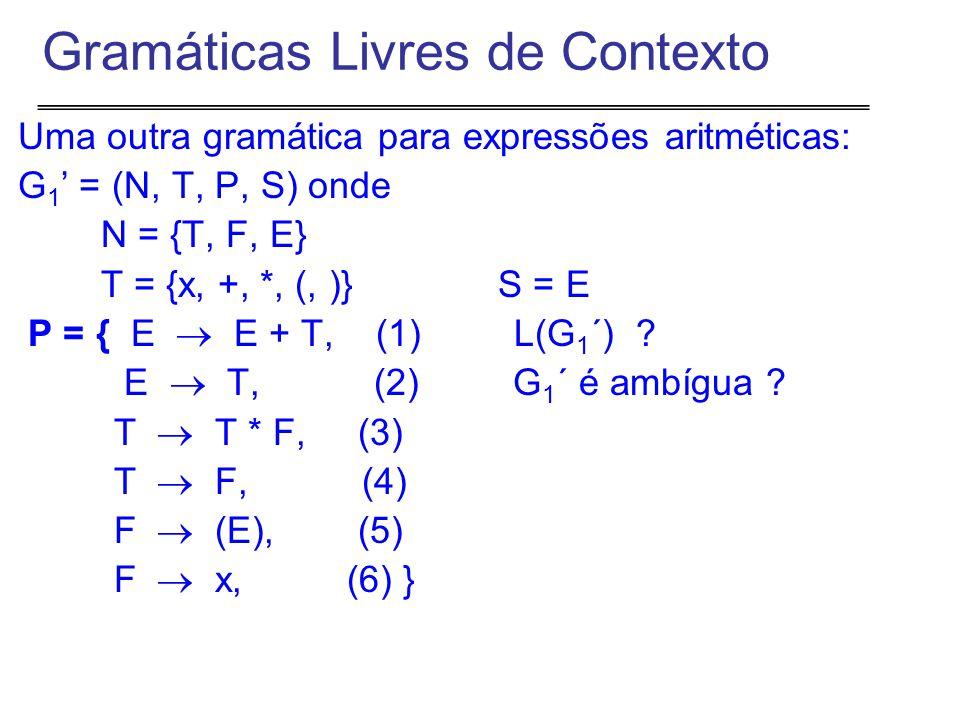 Uma outra gramática para expressões aritméticas: G 1 ' = (N, T, P, S) onde N = {T, F, E} T = {x, +, *, (, )} S = E P = { E  E + T, (1) L(G 1 ´) .