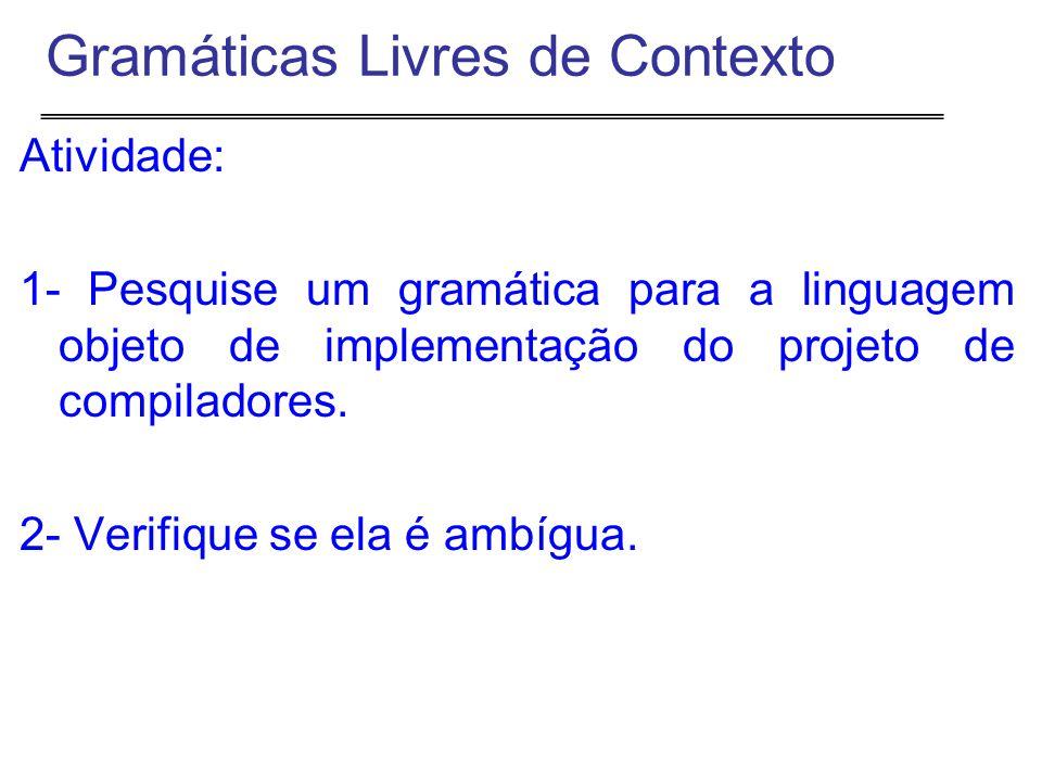 Atividade: 1- Pesquise um gramática para a linguagem objeto de implementação do projeto de compiladores.