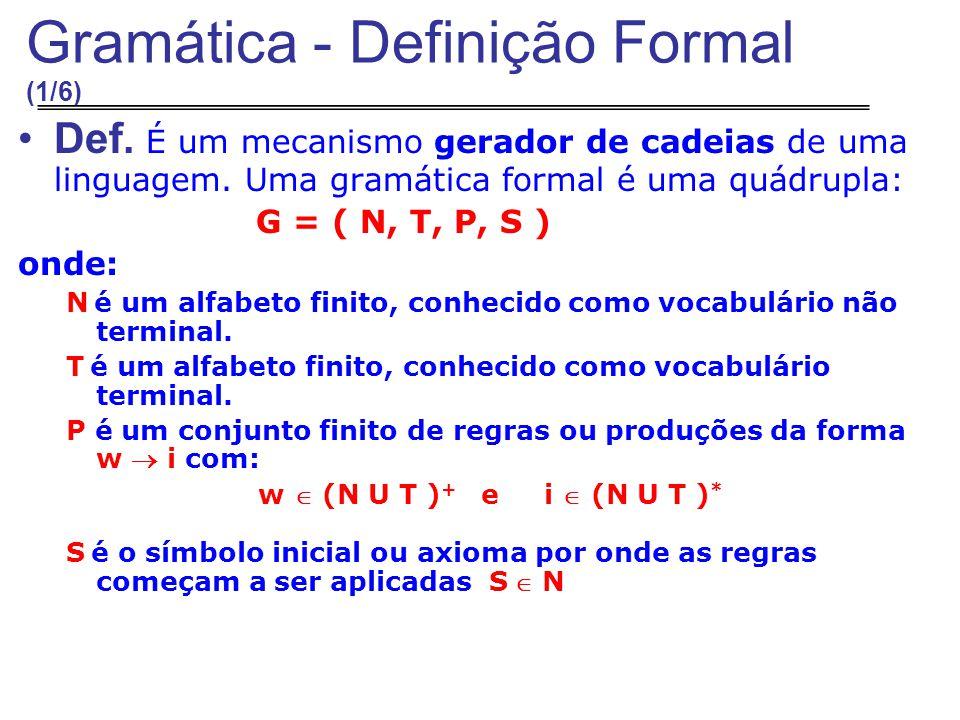 Gramática - Definição Formal (1/6) Def.É um mecanismo gerador de cadeias de uma linguagem.