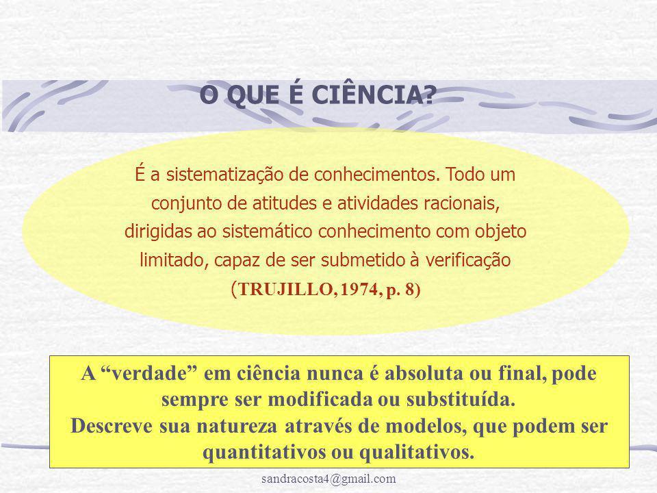 sandracosta4@gmail.com O QUE É CIÊNCIA? É a sistematização de conhecimentos. Todo um conjunto de atitudes e atividades racionais, dirigidas ao sistemá
