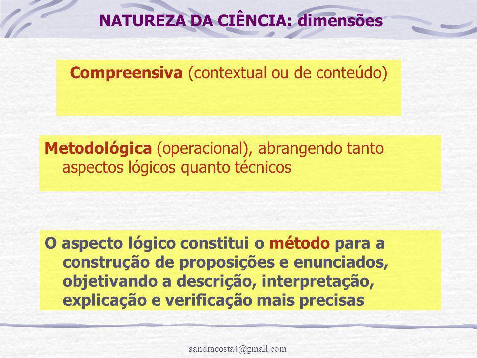 sandracosta4@gmail.com NATUREZA DA CIÊNCIA: dimensões Compreensiva (contextual ou de conteúdo) Metodológica (operacional), abrangendo tanto aspectos l