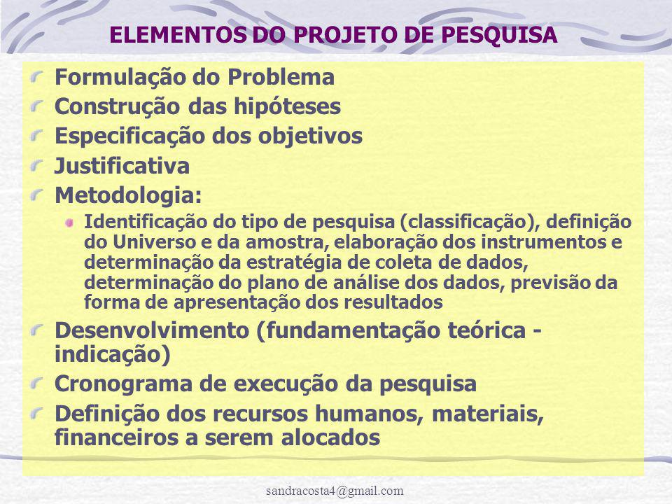 sandracosta4@gmail.com ELEMENTOS DO PROJETO DE PESQUISA Formulação do Problema Construção das hipóteses Especificação dos objetivos Justificativa Meto