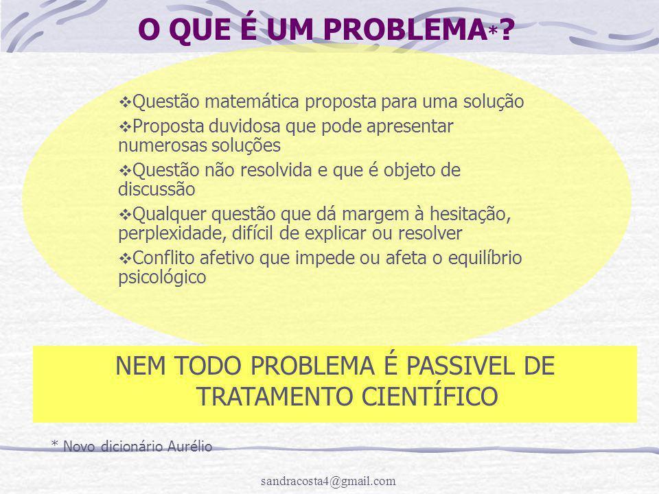 sandracosta4@gmail.com O QUE É UM PROBLEMA * ?  Questão matemática proposta para uma solução  Proposta duvidosa que pode apresentar numerosas soluçõ