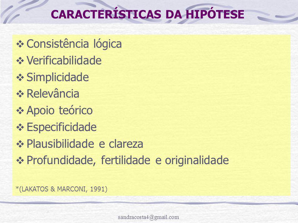 sandracosta4@gmail.com CARACTERÍSTICAS DA HIPÓTESE  Consistência lógica  Verificabilidade  Simplicidade  Relevância  Apoio teórico  Especificida