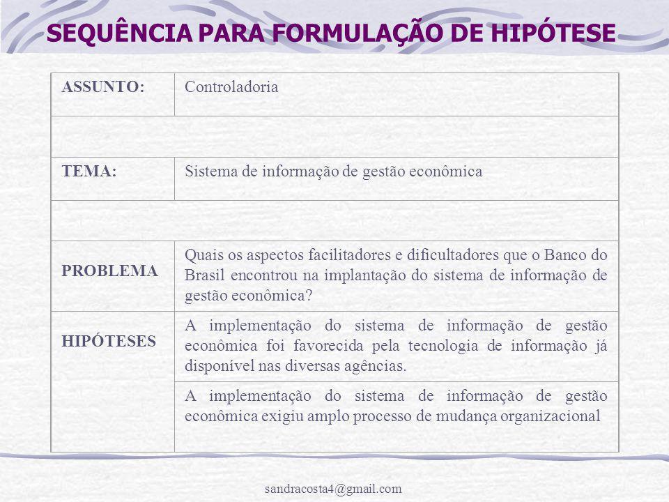 sandracosta4@gmail.com SEQUÊNCIA PARA FORMULAÇÃO DE HIPÓTESE ASSUNTO:Controladoria TEMA:Sistema de informação de gestão econômica PROBLEMA Quais os as