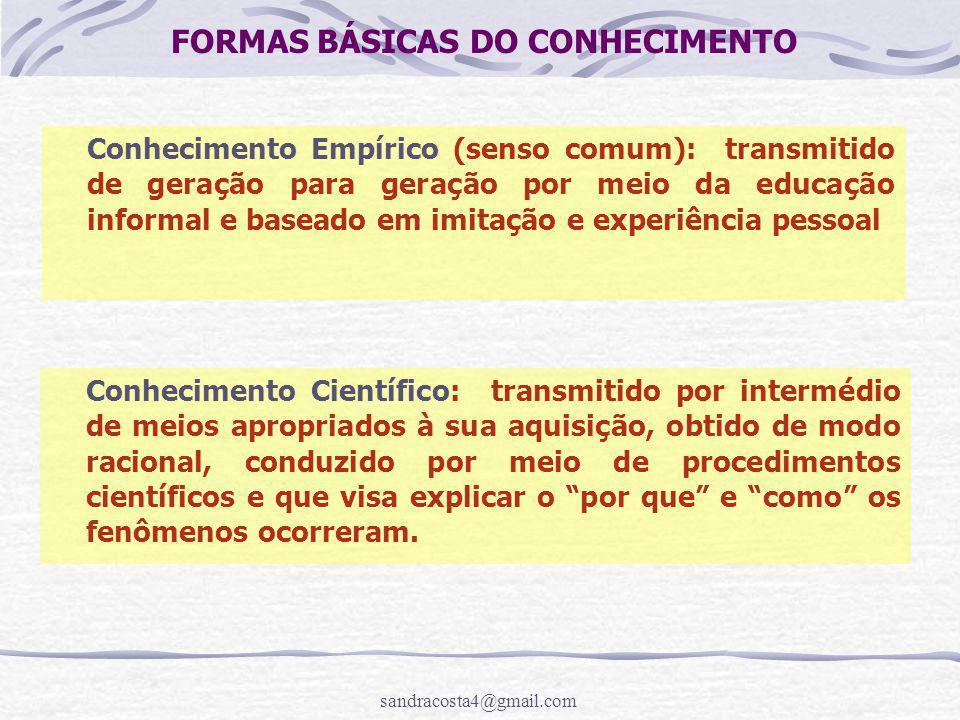 sandracosta4@gmail.com FORMAS BÁSICAS DO CONHECIMENTO Conhecimento Científico: transmitido por intermédio de meios apropriados à sua aquisição, obtido