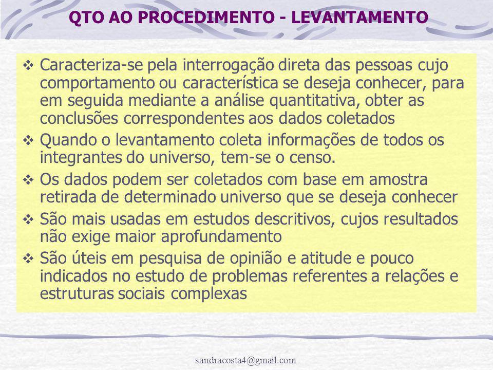 sandracosta4@gmail.com QTO AO PROCEDIMENTO - LEVANTAMENTO  Caracteriza-se pela interrogação direta das pessoas cujo comportamento ou característica s
