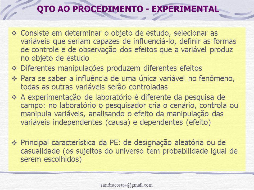 sandracosta4@gmail.com QTO AO PROCEDIMENTO - EXPERIMENTAL  Consiste em determinar o objeto de estudo, selecionar as variáveis que seriam capazes de i