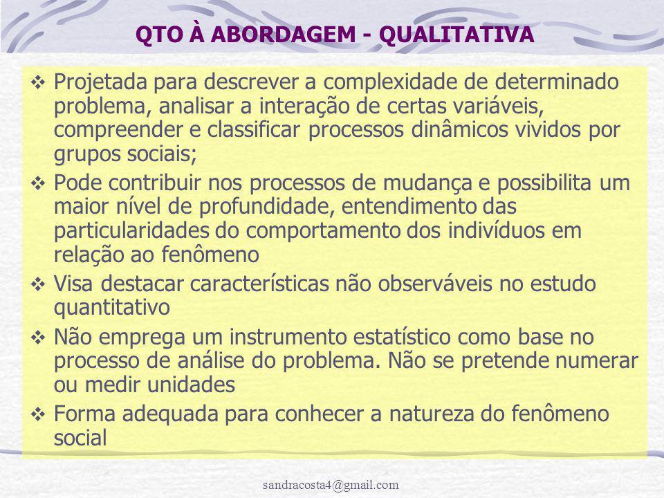 sandracosta4@gmail.com QTO À ABORDAGEM - QUALITATIVA  Projetada para descrever a complexidade de determinado problema, analisar a interação de certas