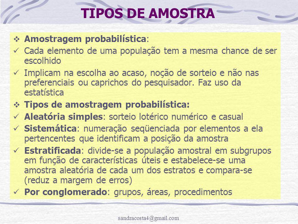 sandracosta4@gmail.com TIPOS DE AMOSTRA  Amostragem probabilística: Cada elemento de uma população tem a mesma chance de ser escolhido Implicam na escolha ao acaso, noção de sorteio e não nas preferenciais ou caprichos do pesquisador.