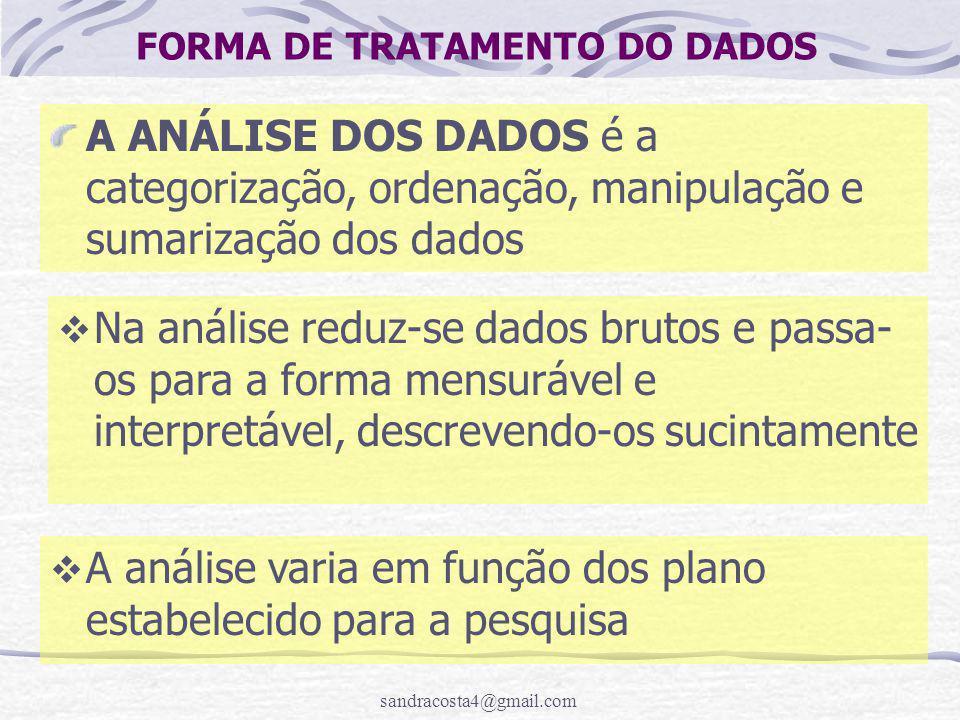sandracosta4@gmail.com FORMA DE TRATAMENTO DO DADOS A ANÁLISE DOS DADOS é a categorização, ordenação, manipulação e sumarização dos dados  Na análise