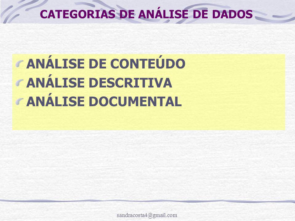 sandracosta4@gmail.com CATEGORIAS DE ANÁLISE DE DADOS ANÁLISE DE CONTEÚDO ANÁLISE DESCRITIVA ANÁLISE DOCUMENTAL