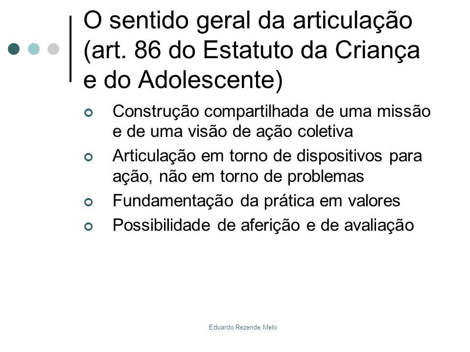 O sentido geral da articulação (art. 86 do Estatuto da Criança e do Adolescente) Construção compartilhada de uma missão e de uma visão de ação coletiv