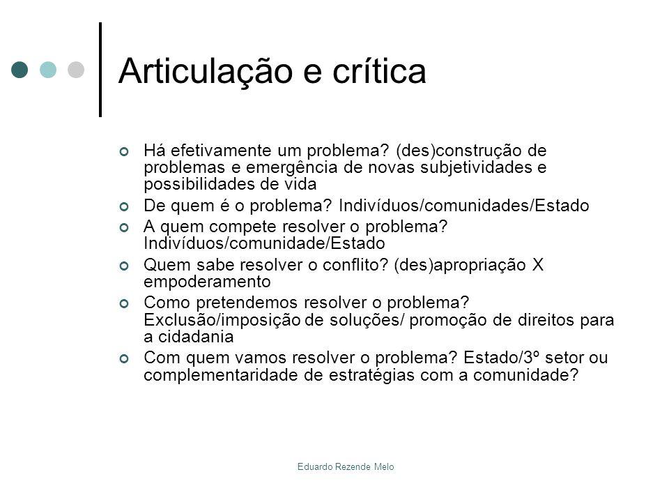 Articulação e crítica Há efetivamente um problema? (des)construção de problemas e emergência de novas subjetividades e possibilidades de vida De quem