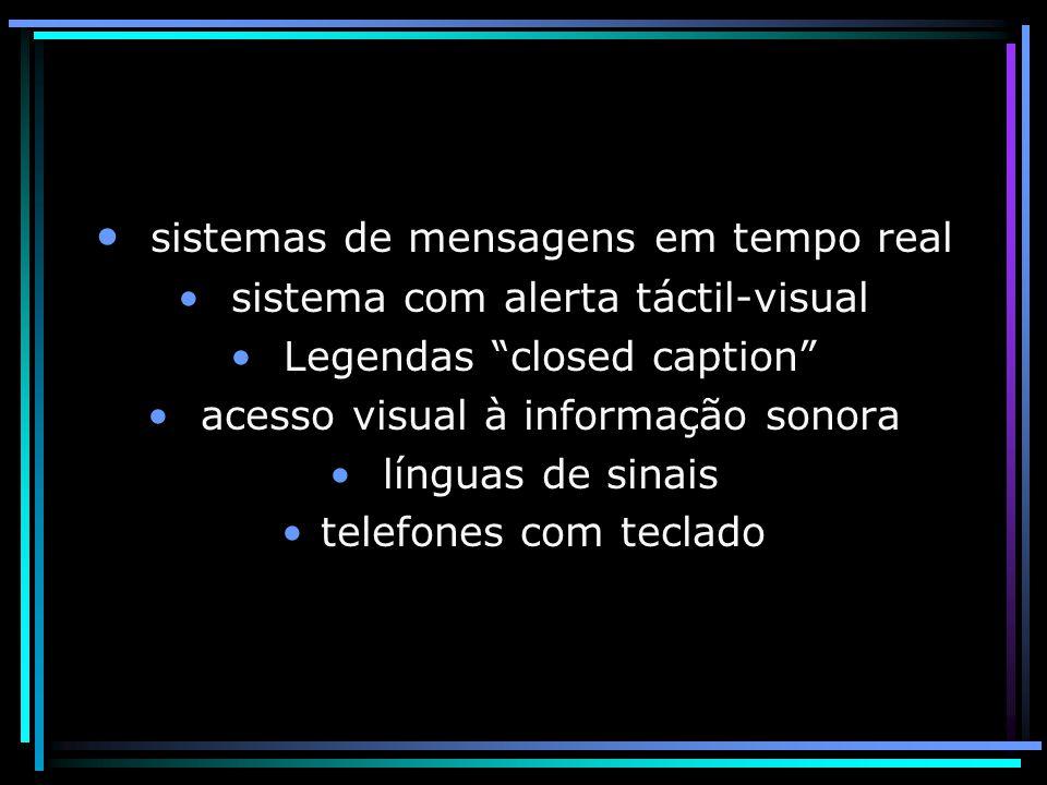 sistemas de mensagens em tempo real sistema com alerta táctil-visual Legendas closed caption acesso visual à informação sonora línguas de sinais telefones com teclado
