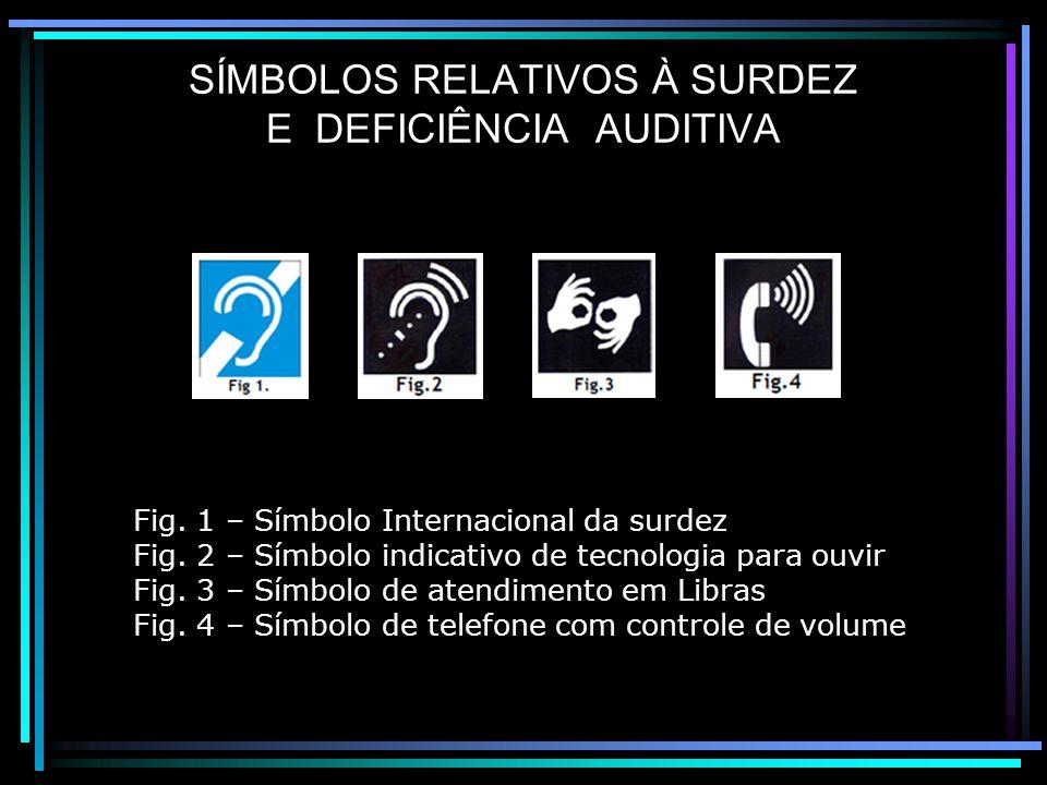 SÍMBOLOS RELATIVOS À SURDEZ E DEFICIÊNCIA AUDITIVA Fig.