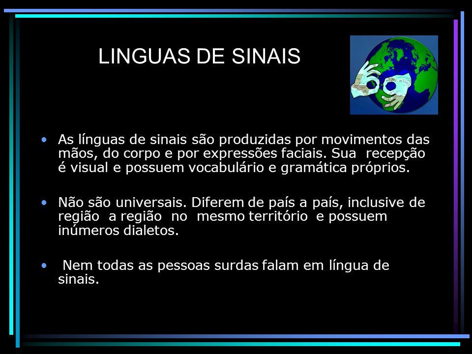 LINGUAS DE SINAIS As línguas de sinais são produzidas por movimentos das mãos, do corpo e por expressões faciais.