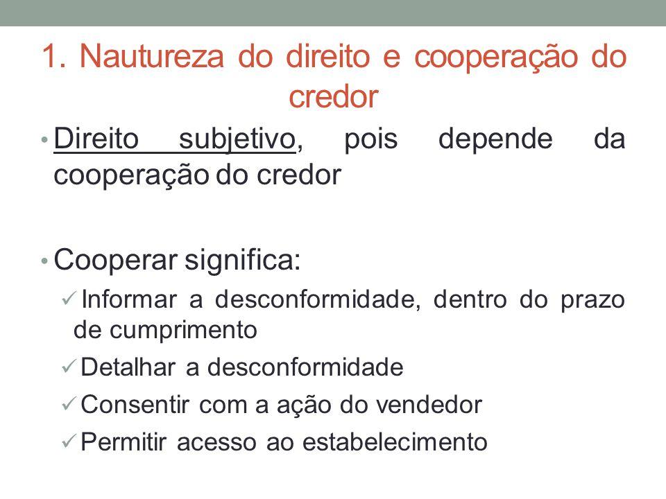 1. Nautureza do direito e cooperação do credor Direito subjetivo, pois depende da cooperação do credor Cooperar significa: Informar a desconformidade,