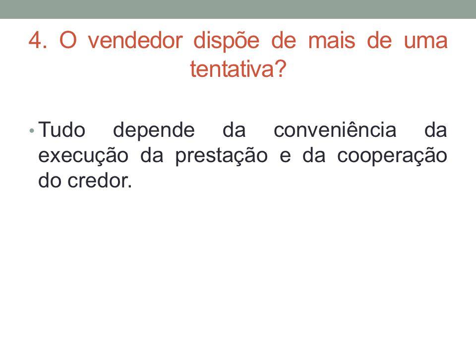 4. O vendedor dispõe de mais de uma tentativa? Tudo depende da conveniência da execução da prestação e da cooperação do credor.