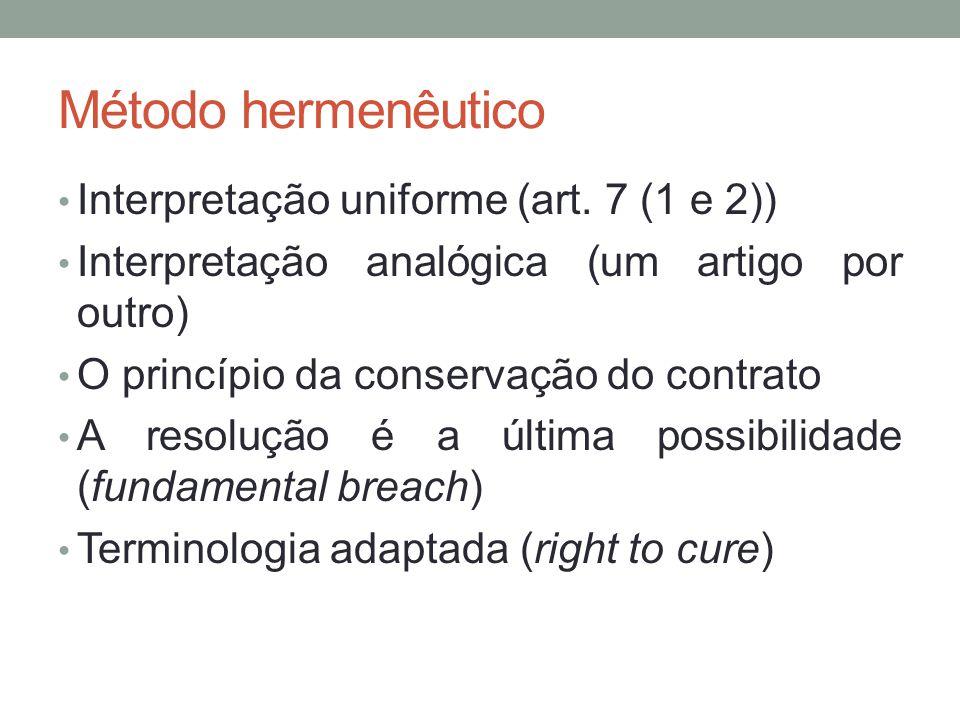 Método hermenêutico Interpretação uniforme (art. 7 (1 e 2)) Interpretação analógica (um artigo por outro) O princípio da conservação do contrato A res