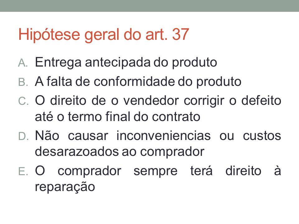Hipótese geral do art. 37 A. Entrega antecipada do produto B. A falta de conformidade do produto C. O direito de o vendedor corrigir o defeito até o t