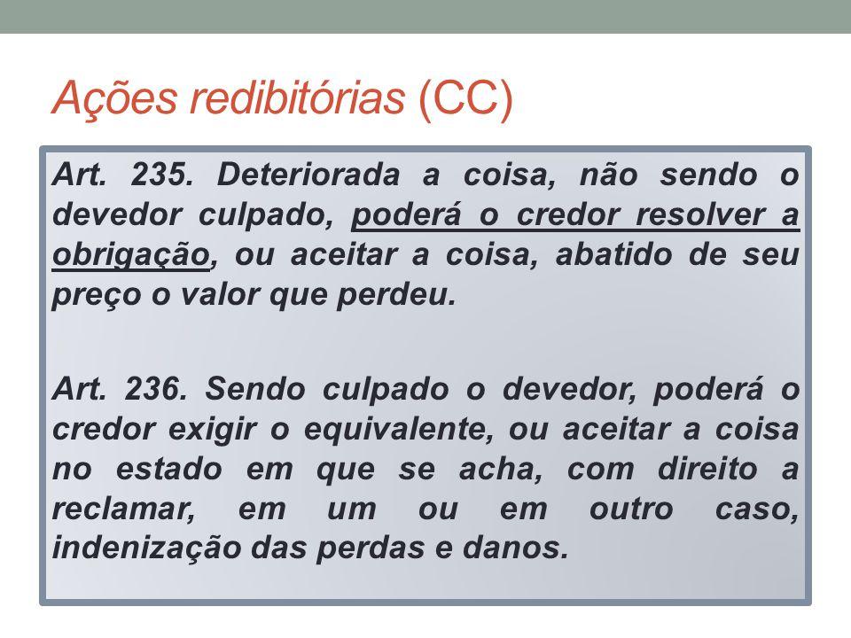 Ações redibitórias (CC) Art. 235. Deteriorada a coisa, não sendo o devedor culpado, poderá o credor resolver a obrigação, ou aceitar a coisa, abatido