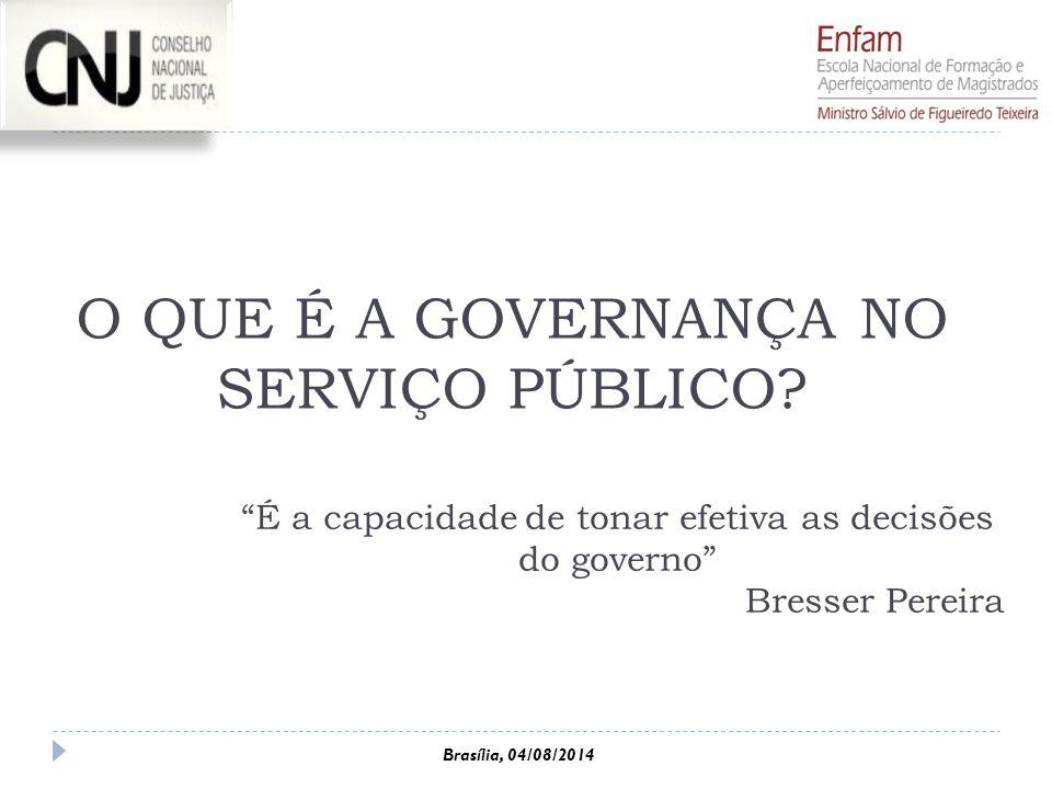 """O QUE É A GOVERNANÇA NO SERVIÇO PÚBLICO? """"É a capacidade de tonar efetiva as decisões do governo"""" Bresser Pereira Brasília, 04/08/2014"""