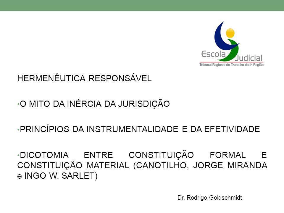 HERMENÊUTICA RESPONSÁVEL O MITO DA INÉRCIA DA JURISDIÇÃO PRINCÍPIOS DA INSTRUMENTALIDADE E DA EFETIVIDADE DICOTOMIA ENTRE CONSTITUIÇÃO FORMAL E CONSTITUIÇÃO MATERIAL (CANOTILHO, JORGE MIRANDA e INGO W.