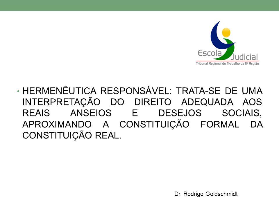 HERMENÊUTICA RESPONSÁVEL: TRATA-SE DE UMA INTERPRETAÇÃO DO DIREITO ADEQUADA AOS REAIS ANSEIOS E DESEJOS SOCIAIS, APROXIMANDO A CONSTITUIÇÃO FORMAL DA CONSTITUIÇÃO REAL.