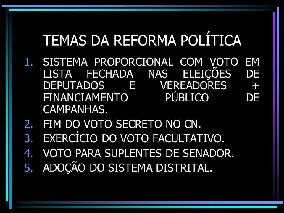 TEMAS DA REFORMA POLÍTICA 1.SISTEMA PROPORCIONAL COM VOTO EM LISTA FECHADA NAS ELEIÇÕES DE DEPUTADOS E VEREADORES + FINANCIAMENTO PÚBLICO DE CAMPANHAS.