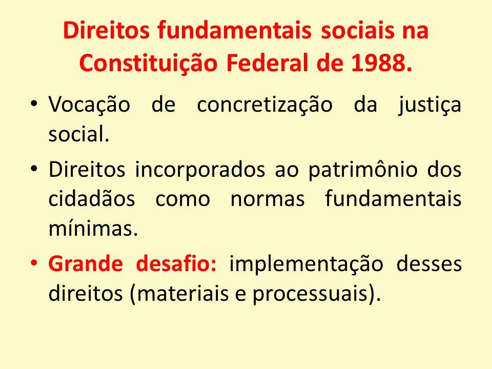 Direitos fundamentais sociais na Constituição Federal de 1988.