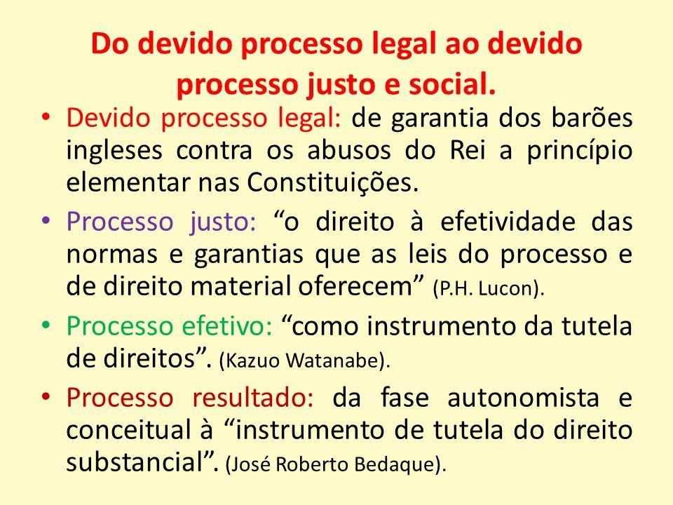 Do devido processo legal ao devido processo justo e social.